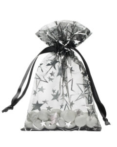 organza bag 10x15cm black with stars