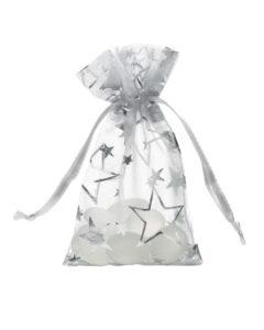 organza bag 7x12cm silver with stars