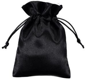 satin drawstring bags black 10x15cm