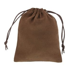 suede pouch chocolate brown 9,5x11,5 4.0