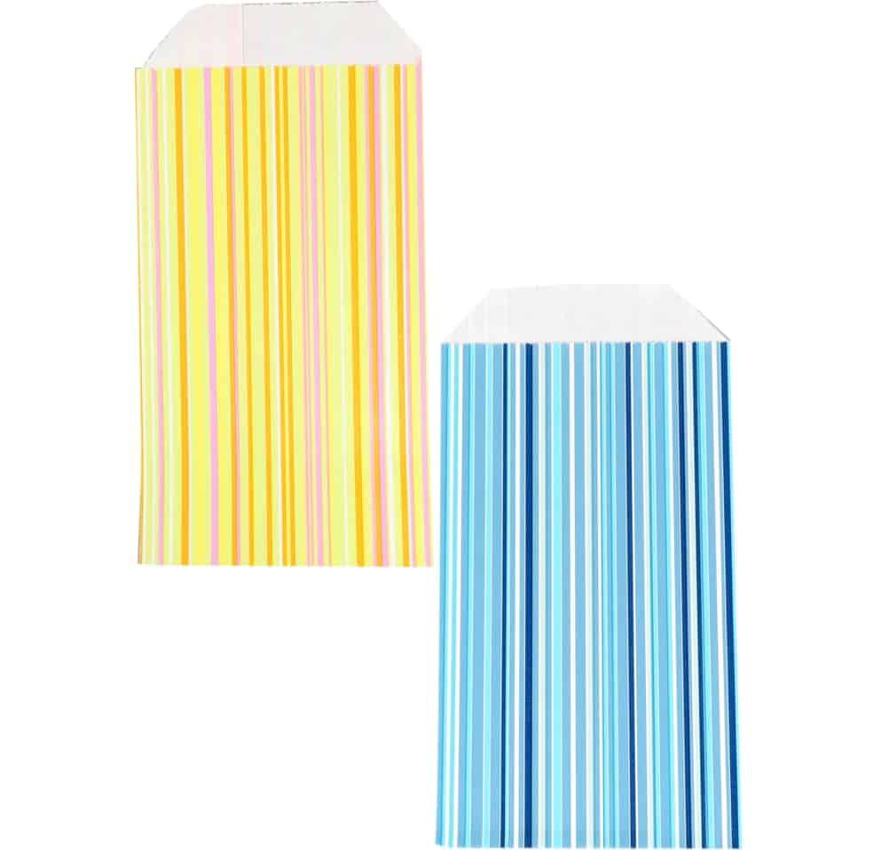 150 ks Papírových Sáčků Proužky Vyberte si Barvu a Velikost modrá bílá
