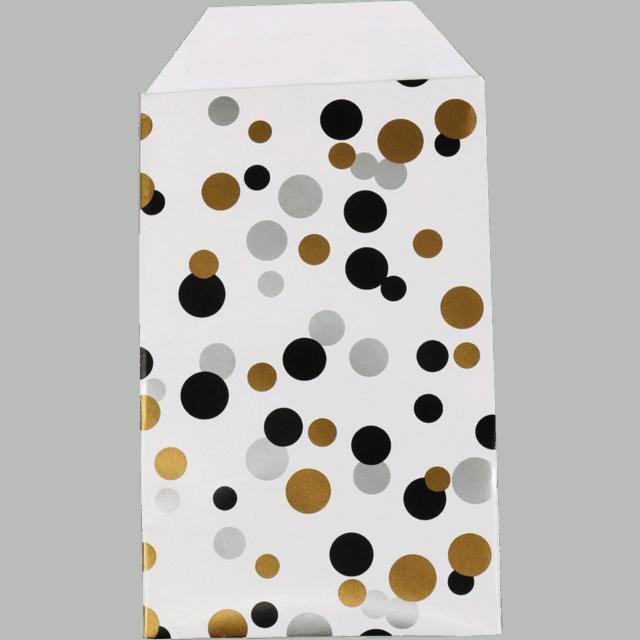 150 kusů Papírových Sáčků Polka Puntíky Cerná, Zlatá a Stříbrná