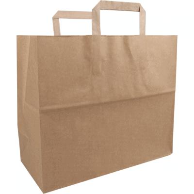 250 kusů Papírových Sáčků FSC s Plochým Uchem, Hnědá
