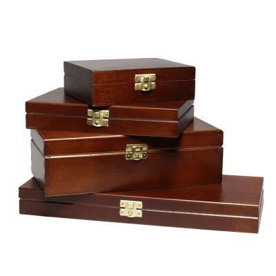 FSC dřevěné bedny s víkem lakovaným exteriérem A4, A5, A6 v černé nebo hnědé barvě